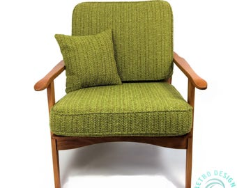 Newly RESTORED REUPHOLSTERED  1950's Mid Century Modern Danish Lounge Chair MCM New Knoll Green nubby Upholstery, Foam and Batting