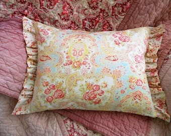 "Darling plump pillow with ruffled frill~Vintage Rosy eiderdown cottons backed by antique French linen~Includes 17"" x 13"" duck-feather insert"