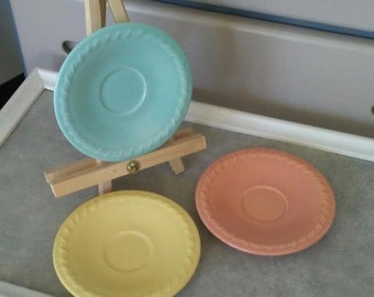 Vintage Saucers, Pastel Saucers, Stoneware Saucers, Mission Bell Pottery, Saucers Set, Pastel Pottery, California Pottery, Saucers Only