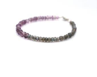 Amethyst Stacking Bracelet, Labradorite Gemstone Bracelet, Delicate Gray Purple Bracelet, Everyday Bracelet