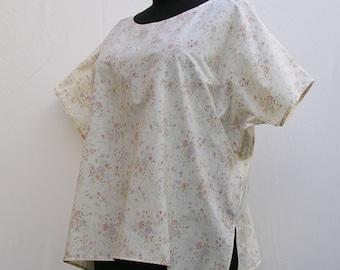 Cream floral top, Plus size top, size 1x 2x 3x 4x 5x, 18 - 28 top, cream top, floral blouse, maternity top, cream blouse, maternity blouse