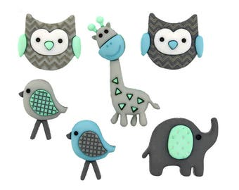 Jungle Baby Jesse James Buttons Gray Elephant Blue Bird Little Owls Mint Green Cute Giraffe Baby Shower Favors Nursery Bootie Sweater Sewing