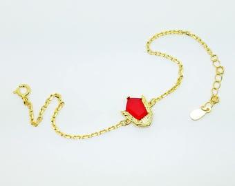 Goron bracelet gorons ruby bracelet made in sterling silver and 18k gold