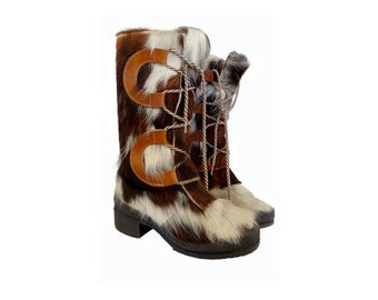 1960s fur laced up yeti snow BOOTS // 1960s Pichette French yeti boots // size eu 37-uk4-us5.5