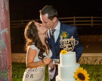Happily Ever After Cake Topper - Gold cake topper Bridal shower cake laser cut - wedding cake - wedding details - calligraphy - gold