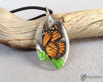 Monarch butterfly pendant - handdrawn on clear background, sterling silver bail . Butterfly necklace . Butterfly on blade of grass