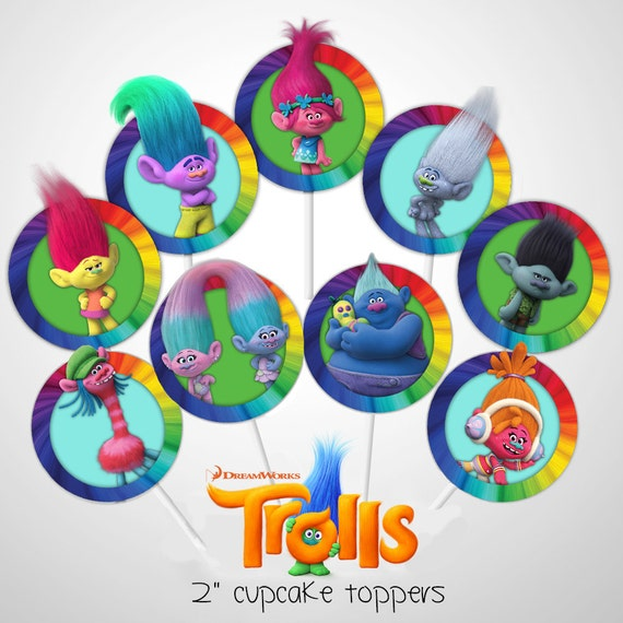 Dreamworks Trolls Party Cupcake Toppers