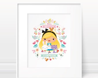 Alice in Wonderland - Nursery art girl, baby girl nursery, girls room decor, modern nursery