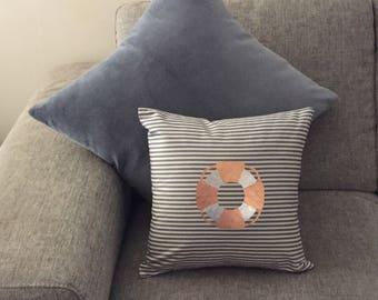 LIFESAVER Cooper / Silver Foil - Blue and White Stripe Cushion