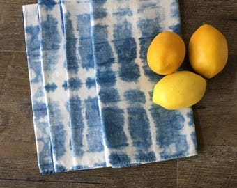 Indigo Shibori Napkins set of 4, new home housewarming gift, blue and white napkins, damask napkins, dinner napkins, vintage table linens