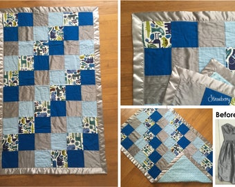 SQUARE Bridesmaid Quilt - Baby Boy Blanket - Baby Shower Gift for the Expecting Bride - New Mom - Quilt made from bridesmaid dress