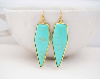 Turquoise and Gold Pendant Statement Earrings
