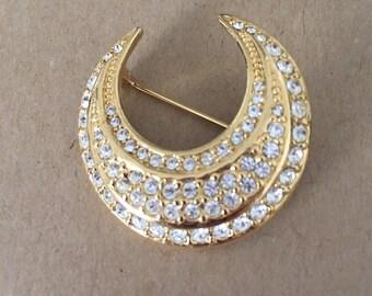 Beautiful Joan Rivers Crystal Crescent Moon  Brooch