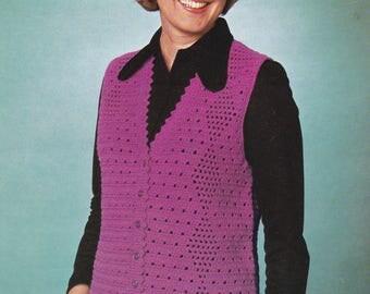 Vintage crochet PDF pattern crocheted vest sleeveless cardigan INSTANT download pattern only 1970s waistcoat