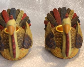 Vintage Debbie Mumm Turkey Candle Holders, Taper holders, Thanksgiving