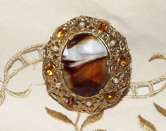 Vintage Brooch Facetted Glass Rhinestones 1960-70s Browns & Gold