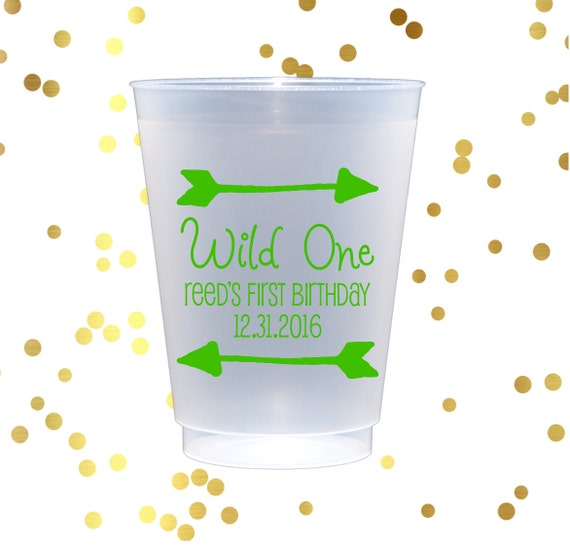 Kids birthday frosted cups, Personalized plastic cup, Wild 1 birthday party, child's birthday party decor, first birthday