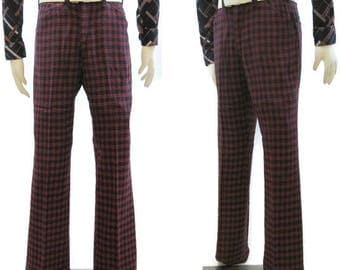 Vintage 70s Pants Mens Houndstooth Check Mod Flared Trousers Slacks Red Blue 36 x 35
