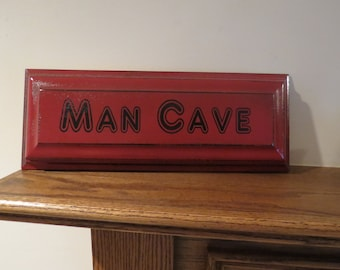 Man Cave, Sign, Reclaimed Oak Wood, Drawer Front, Garage, Dad, Husband, Christmas Gift