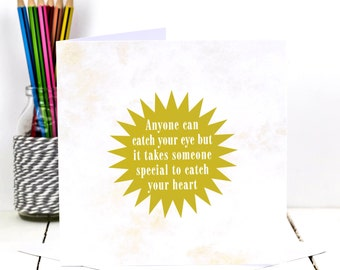 Valentines Card; Card For Girlfriend; Card For Boyfriend; Love Card; Romantic Card; Engagement Card; Wedding Card; GC425