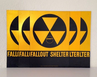 5 Cold War ERA FALLOUT SHELTER  Reflective Sign U.S. Department of Defense 1950s