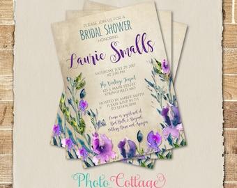 Bridal Shower Invitation, Rustic Flower Invitation, Country Wild Flower Invitations, Bridal Shower Invites, Vintage Bridal Invitations BS292