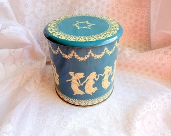 Vintage Wedgewood Tin, Blue and White  Grecian Cookie Tin, Vintage Cookie Tin
