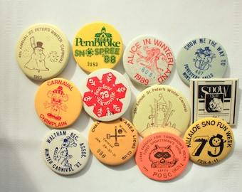 Set of 6 Winter Carnival Pin Backs