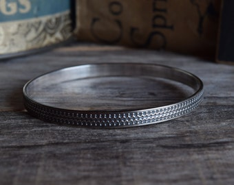 Silver Bangle Bracelet Bohemian Bangle Bracelet Gypsy Bracelet Unique Bracelet Metalwork Jewelry Wide Bangle Bracelet