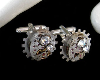 Steampunk Cufflinks with Crystal Swarovski - Victorian Dandy Gentleman Accessory - TimeLord Watchwork Jewelry - Great Present for Christmas