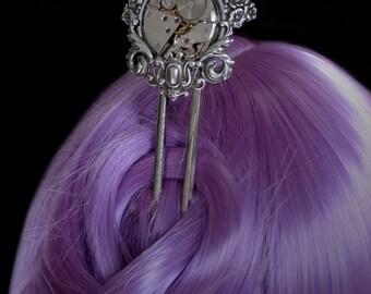 Steampunk Hair Fork - Clockwork - Silver Stick Pin - Watch Movement - Victorian Retrofuturism Jewellery - Watchwork - Great Gift for Her