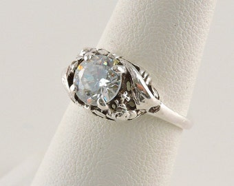 Size 6 Sterling Silver And 1.25ct Round Rhinestone Ring