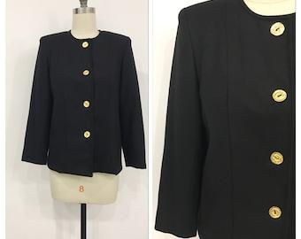 Elegant black women jacket // vintage jacket // black jacket gold buttons // jacket with shoulder pads // size medium // wool jacket // 80s