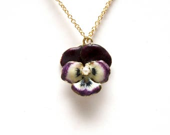 SOLD to  S*** FOR AUG. 17****14k Victorian Enamel Pansy Pendant