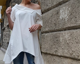 Crisp White Shirt / Cotton Shirt / Asymmetric Loose Blouse / Deconstructed Shirt / Casual Cool Shirt / Ladies Shirt / Outfit Ideas SH8816