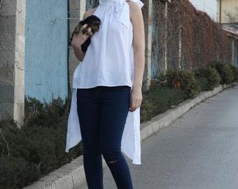 Feminine Blouse, White Blouse, Tie Neck Blouse, Party Top, Formal Blouse, Cotton Shirt, Designer Top, Vintage Blouse, Sleeveless SH10716