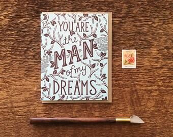 Dream Man, Love Card, Letterpress Note Card, Blank Inside