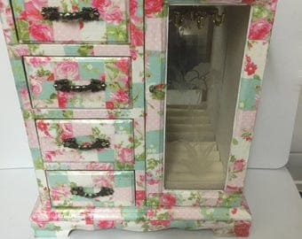 Vintage Decoupage Jewellery/ Trinket  Box in Shape of a Wardrobe ... covered in decoupage in pinks and greens