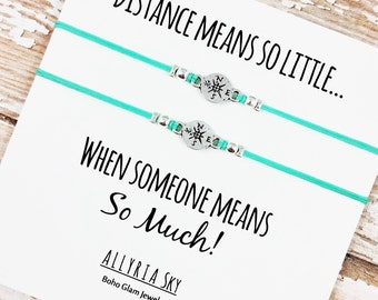 "Set of Two Charm Friendship Bracelets with ""Distance Means So Little"" Card 