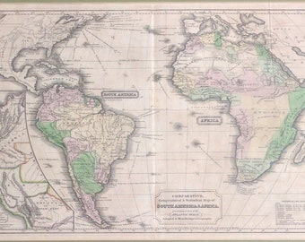1831 map of South America & Africa for Woodbridge's Geography, hand colored engraving