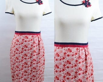 Vintage / 60s / Mod Dress / Ports International / Red White Blue / Colorblock / Floral / Small
