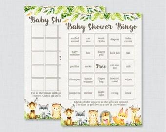 Woodland Animal Baby Shower Bingo Cards - Printable Blank Bingo Cards AND PreFilled Bingo Cards - Cute Woodland Baby Shower Bingo - 0065