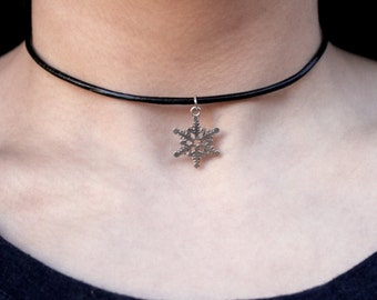 Vegan Leather Christmas Snowflake Choker