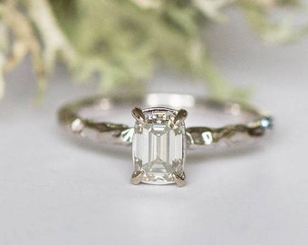 Emerald Cut Moissanite Engagement Ring-  Solitaire Organic Textured Rustic Eco-Friendly Moissanite claw white gold ring by Anueva Jewelry