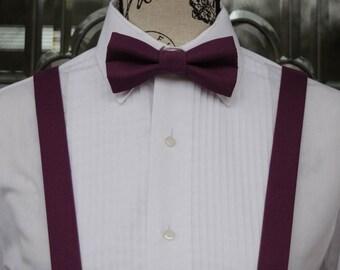 Eggplant Bow Tie/Suspender Set -Eggplant 205B -(Infant - Adult) Weddings - Groom - Groomsmen - Graduation - Suspenders - Bowties