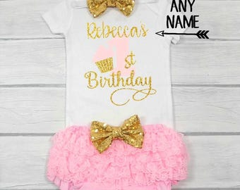 pink and gold first birthday outfit girls first birthday girls first birthday outfit first birthday outfit girl cupcake first birthday
