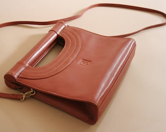 authentic FENDI terracotta leather top handle bag