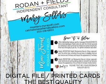Rodan + Fields Business Card, Rodan + Fields Mini Facial Instructions Back