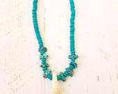 Bison Tooth Necklace, Ethical, Turquoise Wood, Natural Native, Aztec Chicana Chicano, Teal Beaded, Bohemian, Southwestern, Cowgirl Western