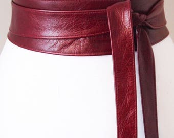 Dark Red Obi Belt| Leather Belt | Sash Belt| Leather Wrap Belt | Tie Belt | Plus Size Belt | Corset Belt | Leather Obi Belt | Real Leather